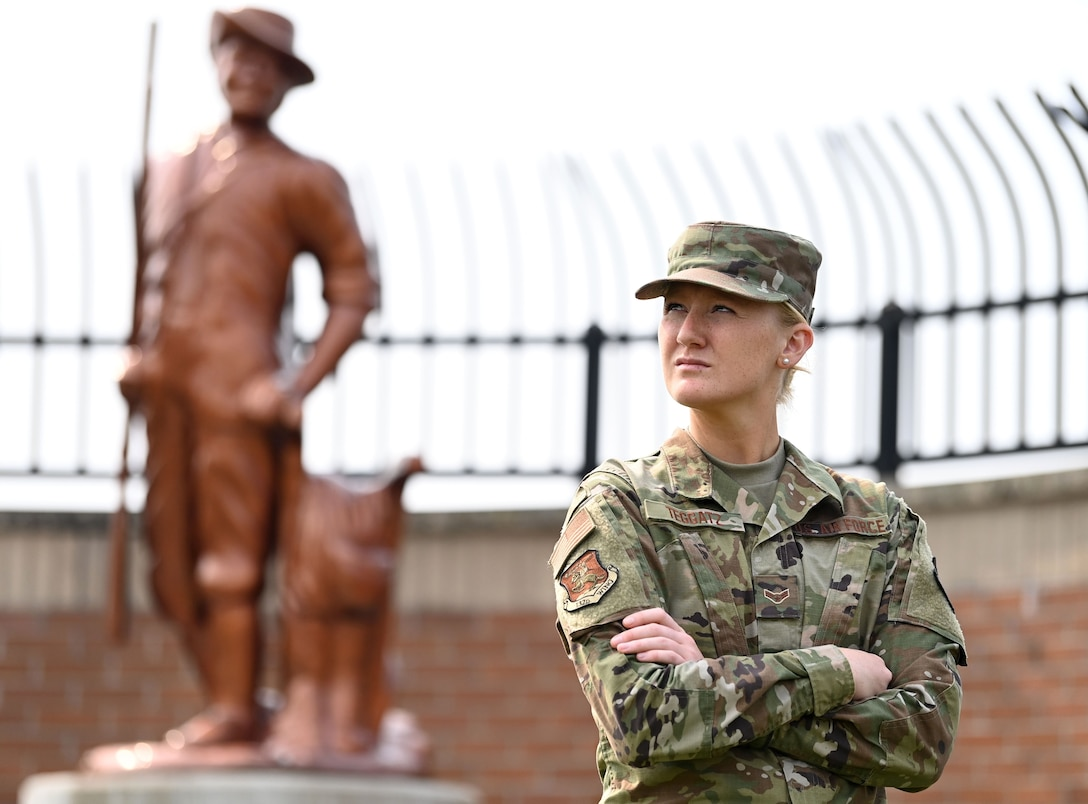 Airman First Class Patricia Teggatz, 132d Force Support Squadron, Iowa Air National Guard, has a long lineage of family in the military including her father. Teggatz said she knew from the beginning that she wanted to join the military. (U.S. Air National Guard photo by Tech. Sgt. Michael J. Kelly)