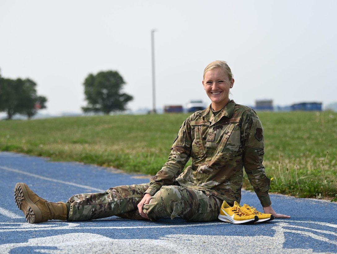 Airman First Class Patricia Teggatz, 132d Force Support Squadron, ran for the University of Iowa Track & Field program. Teggatz competed in the 1500 meter and 3000 meter events. (U.S. Air National Guard photo by Tech. Sgt. Michael J. Kelly)
