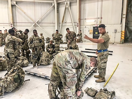 Senior Airman Jordan Scott, 87th Aerial Port Squadron, gives instructions to Soldiers on how to build a pallet. During their August 2021 annual tour at Joint Base Charleston, South Carolina, Reserve Citizen Airmen from the 87th APS were tasked with supporting the current mission in Afghanistan while working alongside their active duty counterpart hosts from the 437th Aerial Port Squadron.