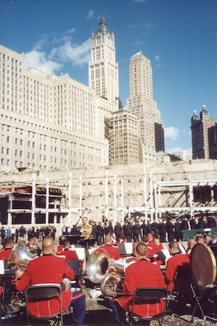 """""""The President's Own"""" United States Marine Band performs under the direction of Col. Timothy Foley at Ground Zero for the first anniversary of 9/11."""