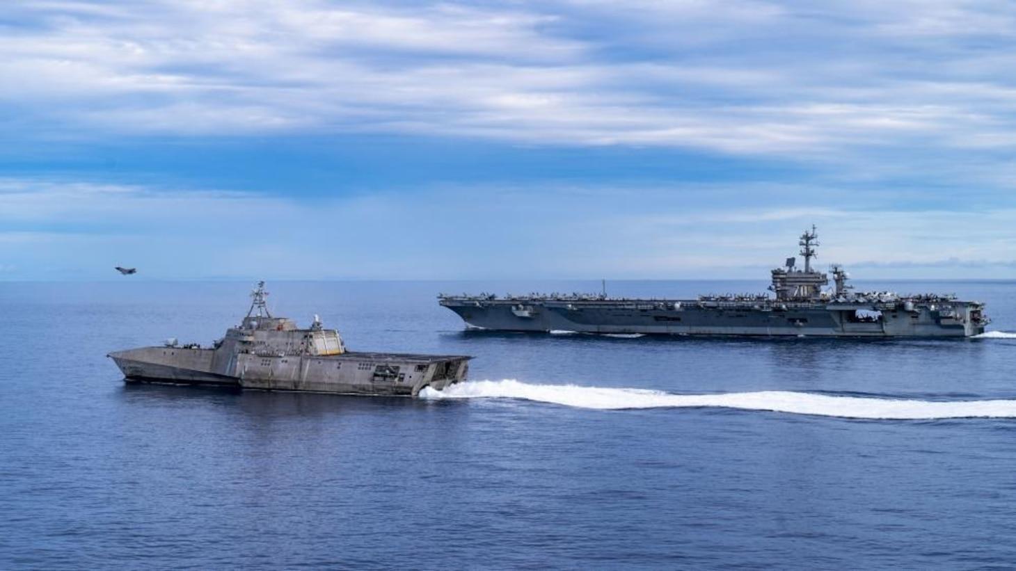 USS Carl Vinson (CVN 70) Transits South China Sea with USS Tulsa (LCS 16)