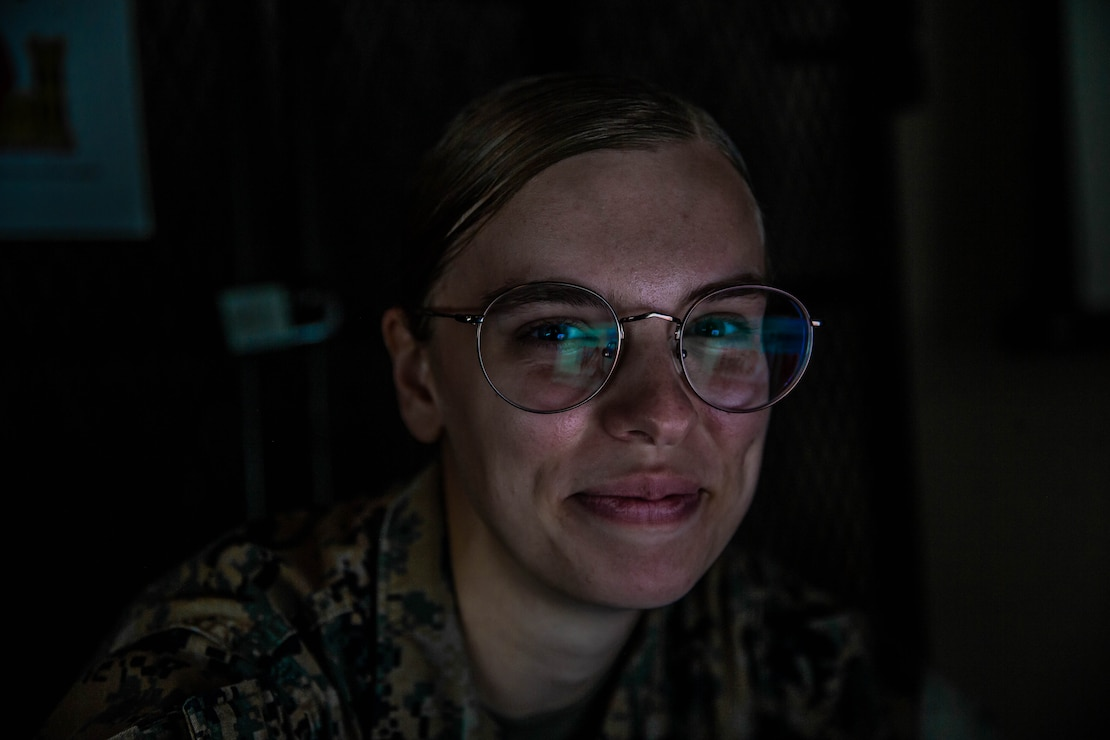 """U.S. Marine Corps Cpl. Jenna R. Chalfant, an intelligence specialist with 2d Combat Engineer Battalion, 2d Marine Division, poses for a photo on Camp Lejeune, N.C., Sept. 8, 2021. """"You're a Marine for your country, a partner for loved ones, and a friend for those around you, but who are you for yourself? said Chalfant, a Omaha, Neb., native. """"If you don't know, you should find out."""" According to Chalfant's leadership, she has taken point on the creation and dissemination of intelligence products throughout the battalion. While keeping Marines informed, Chalfant continually seeks additional leadership opportunities so that she can make a positive impact with her unit. (U.S. Marine Corps photo by Lance Cpl. Emma Gray)"""