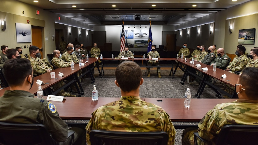U.S. Air Force Gen. Jacqueline D. Van Ovost, Air Mobility Command commander, and Chief Master Sgt. Brian Kruzelnick, AMC command chief, discuss lessons learned with 305th Air Mobility Wing Airmen during a visit to Joint Base McGuire-Dix-Lakehurst, N.J., Sept. 8, 2021. 305th AMW crews were instrumental to the Operation Allies Refuge mission and were among the first to help evacuate. (U.S. Air Force Photo by Staff Sergeant Shay Stuart)