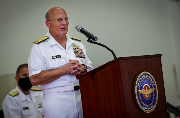 Chief of Naval Operations (CNO) Adm. Mike Gilday speaks during a change of command ceremony for Naval Air Systems Command.