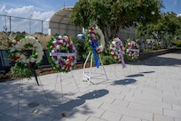 A row of wreaths is displayed in a row outside.