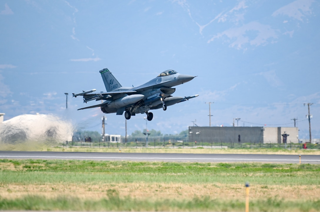 An F-16 Fighting Falcon assigned to the 31st Fighter Wing from Aviano Air Base, Italy, takes off Aug. 25, 2021, at Hill Air Force Base, Utah. The wing was participating in a Weapons System Evaluation Programs, known as Combat Hammer and Combat Archer, which tests and validates the performance of crews, pilots, and their technology while deploying air-to-air and air-to-ground munitions. (U.S. Air Force photo by Cynthia Griggs)