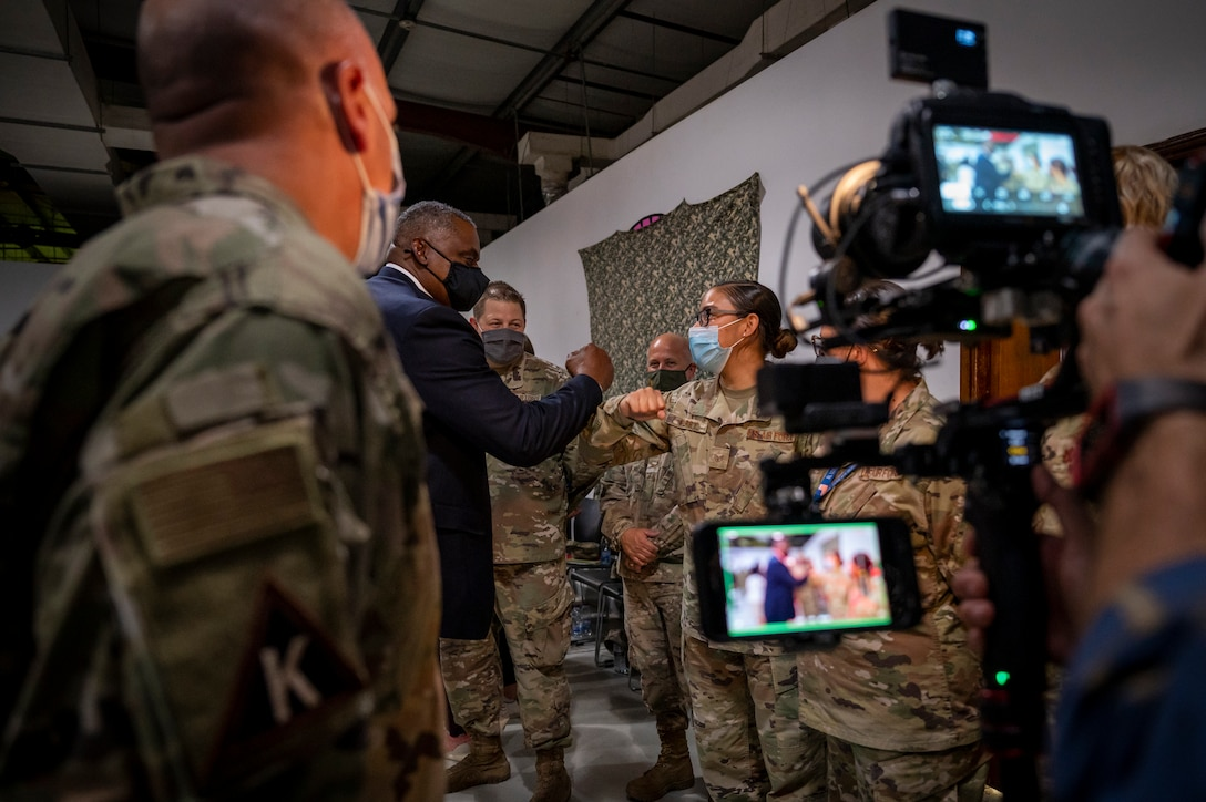Secretary of Defense Lloyd J. Austin III greets service members Sept. 07, 2021, at Al Udeid Air Base, Qatar.
