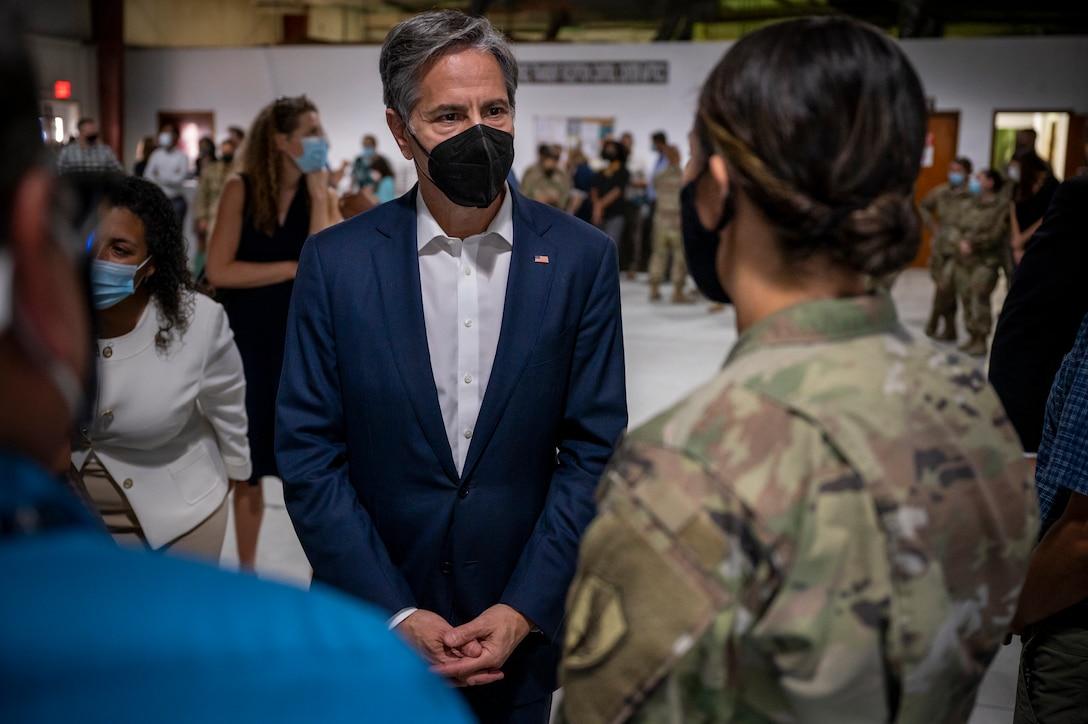 Secretary of State Antony J. Blinken greets service members Sept. 07, 2021, at Al Udeid Air Base, Qatar.