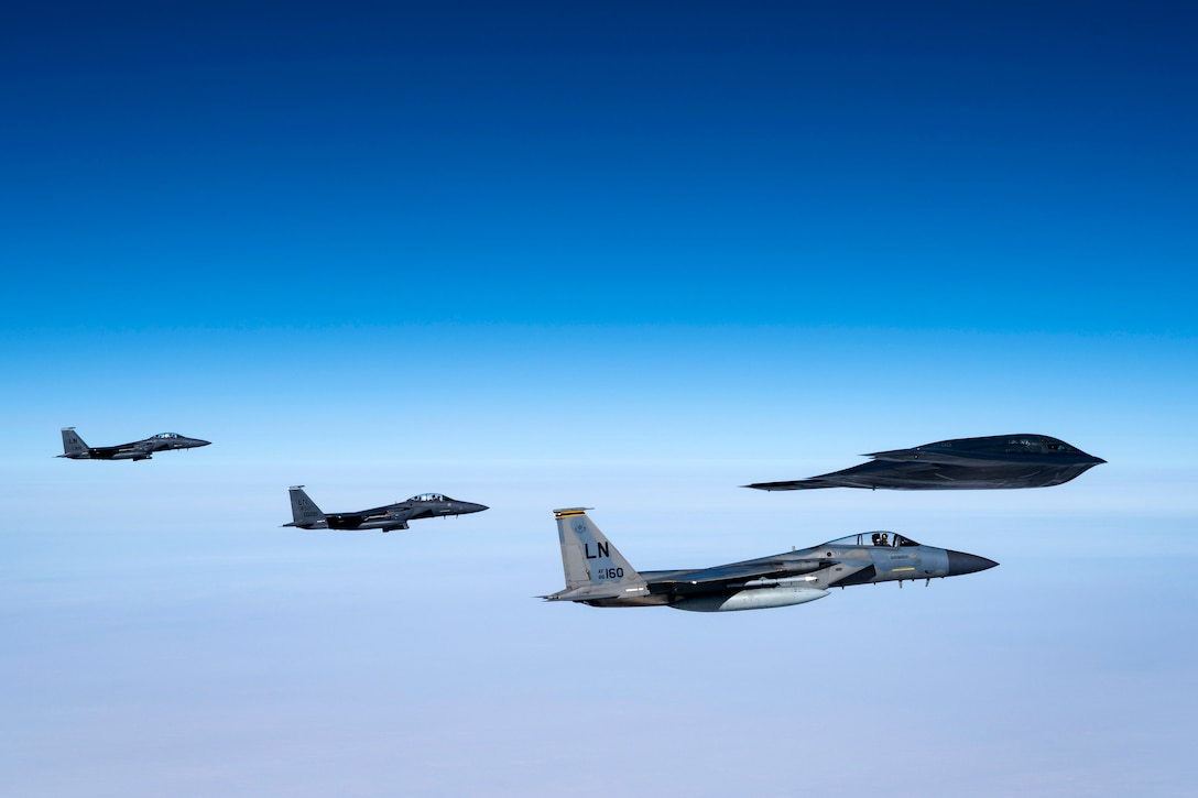 Liberty Wing integrates with B-2 Spirit stealth bombers during Bomber Task Force mission