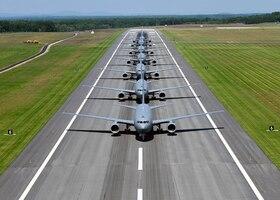 Air Force KC-46 aircraft participate in an elephant walk.