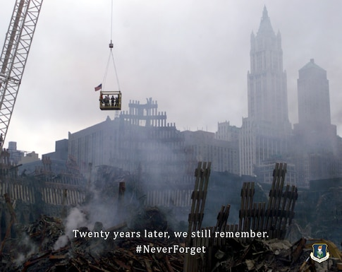 Photo shows smoking remnants of World Trade Center at ground zero after the 9/11 terrorist attack.