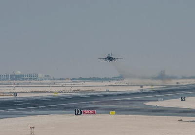 A U.S. Air Force F-16 Fighting Falcon, assigned to the 378th Air Expeditionary Wing, takes-off during Exercise Sky Shield III August 2, 2021, at Al Udeid Air Base, Qatar. Sky Shield III is the third iteration of a bilateral defensive counter-air combat patrol and combat search and rescue exercise designed to validate Air Forces Central and QEAF's combined capability to defend regional airspace. The exercise enhances resolute partnerships and improves interoperability to ensure security and stability in the region. (U.S. Air Force photo by Staff Sgt. Kylee Gardner)
