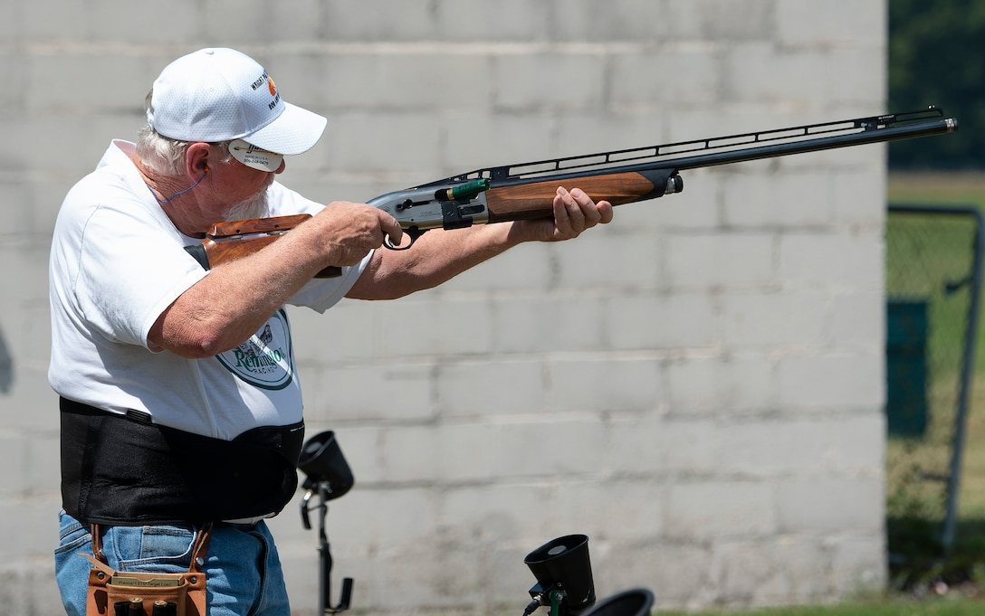 Gary Stockslager takes aim during Retiree Trap League competition Aug. 24, 2021, at the Rod and Gun Club on Wright-Patterson Air Force Base, Ohio. The 88th Force Support Squadron operates the club, which is open to the public. (U.S. Air Force photo by R.J. Oriez)