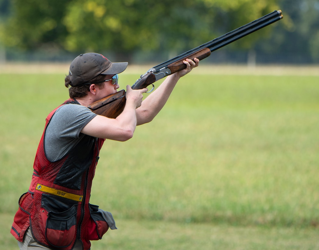 Taylor Botshon, 17, fires at a clay pigeon Aug. 24, 2021, on the Rod and Gun Club skeet range at Wright-Patterson Air Force Base, Ohio. Botshon says he's been shooting skeet for about three years and hopes, one day, to make it on to a world championship or Olympic team. (U.S. Air Force photo by R.J. Oriez)