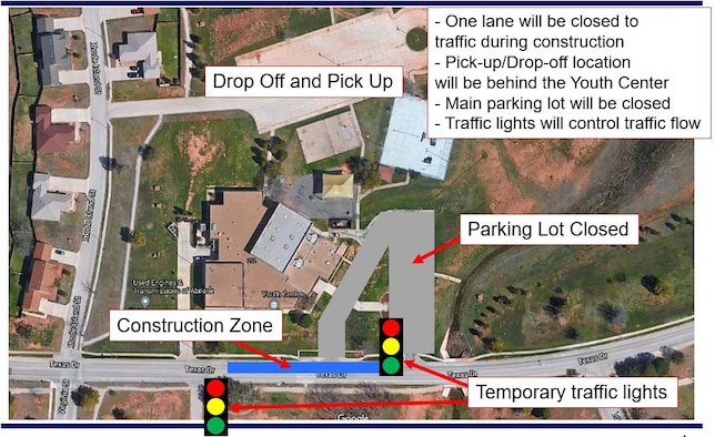 A graphic depicts the construction zones at the Youth Center on Dyess Air Force Base, Texas, Sept. 9, 2021.