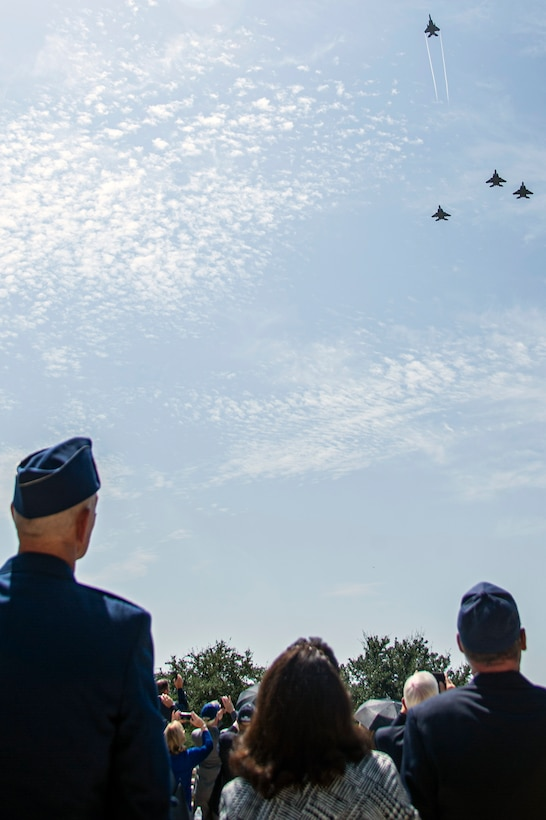 A flyover takes place during the interment of retired Col. Richard E. Cole, Sept. 7, 2021.