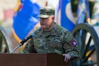 Lt. Gen. John R. Evans Jr., U.S. Army North incoming commanding general, addresses the crowd.