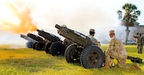 U.S. Army North Soldiers fire cannons rendering honors to Lt. Gen. Laura J. Richardson