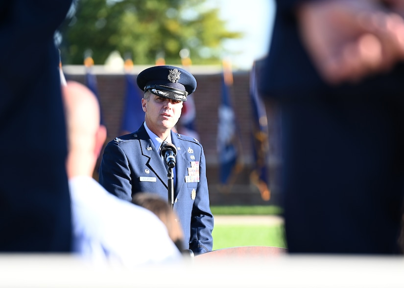 U.S. Air Force Col. Mike Zuhlsdorf, commander of the 11th Wing and Joint Base Anacostia-Bolling speaks during a 9/11 memorial ceremony on Sept. 10, 2021. Mission partners from across the National Capitol Region gathered at JB Anacostia-Bolling to honor those who died 20 years ago during the terror attacks on the World Trade Center and the Pentagon on September 11, 2001. (U.S. Air Force photo by Staff Sgt. Kayla White)
