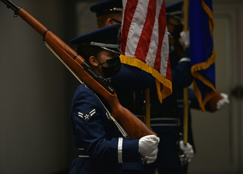 The Goodfellow Air Force Base Color Guard presents the U.S. National Colors during the Powell Event Center dedication ceremony on Goodfellow Air Force Base, Sept. 10, 2021. The primary purpose of the Color Guard is to present the National Colors during official ceremonies. (U.S. Air Force photo by Senior Airman Ashley Thrash)