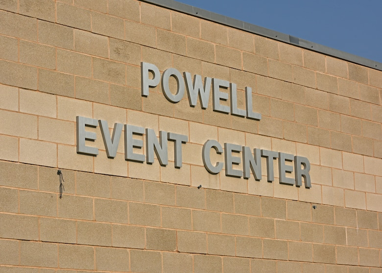 The newly renamed Powell Event Center during the dedication ceremony on Goodfellow Air Force Base, Sept. 10, 2021. The 17th Training Wing held the ceremony to officially celebrate the renaming of the event center in honor of Retired Col. Charles Powell and his wife. (U.S. Air Force photo by Senior Airman Ashley Thrash)