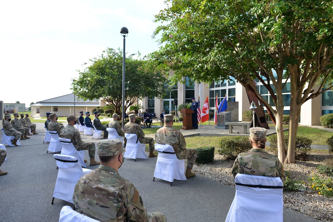U.S. Air Force Maj. Frederick Diederich from the 601st Air Operations Center narrates the events of 9/11 to AOC and 1st Air Force members during a memorial service on September 10, 2021 at Tyndall Air Force Base, Fla. The 601st AOC held a ceremony to honor the memory of those who lost their lives as a result of the tragic events of September 11, 2001 (Air National Guard photo by, Master Sgt. Regina Young)