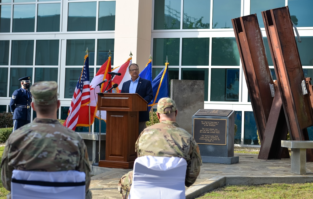 U.S. Air Force Lt. Col. retired Don Arias, speaks to members from the 601st Air Operations Center and 1st Air Force about his memories of the events of 9/11 during a memorial service on September 10, 2021 at Tyndall Air Force Base, Fla. The 601st AOC held a ceremony to honor the memory of those who lost their lives as a result of the tragic events of September 11, 2001 (Air National Guard photo by, Master Sgt. Regina Young)