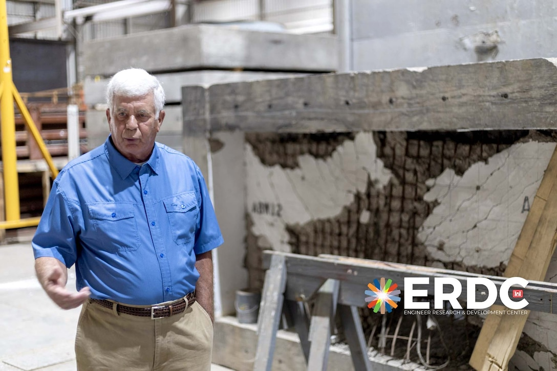 As Dr. Robert Hall walked around the spacious hangar, he came across components and materials used in his more than 40 years of research at the Waterways Experiment Station, the predecessor to the U.S. Army Engineer Research and Development Center (ERDC).
