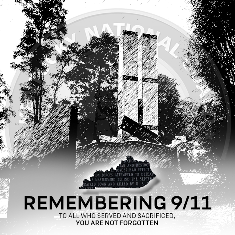 Photoshop illustration by U.S. Army Staff Sgt. Alan Royalty for use in the Bluegrass Guard publication and historical summary of Kentucky National Guard on attacks of 9/11.