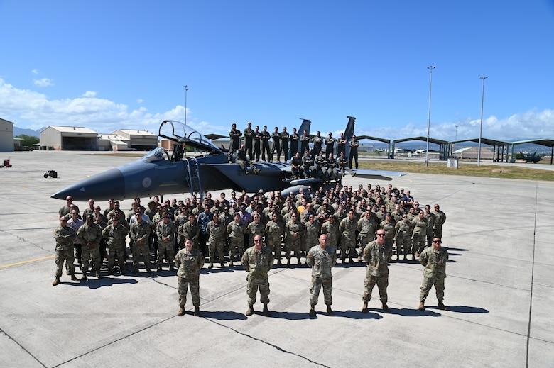 Group photo of members of the 144th Fighter Wing during Sentry Aloha 2021
