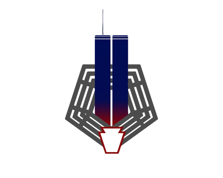 A graphic illustration of the World Trade Center Twin Towers coming out of the Pentagon with a keystone on the bottom. The towers' gradient from blue to red symbolizes the lives lost on 9/11. As the nation commemorates the tragic day 20 years ago, National Guard members and retirees reflect on their experiences, and how the day's events changed the course of the Guard.