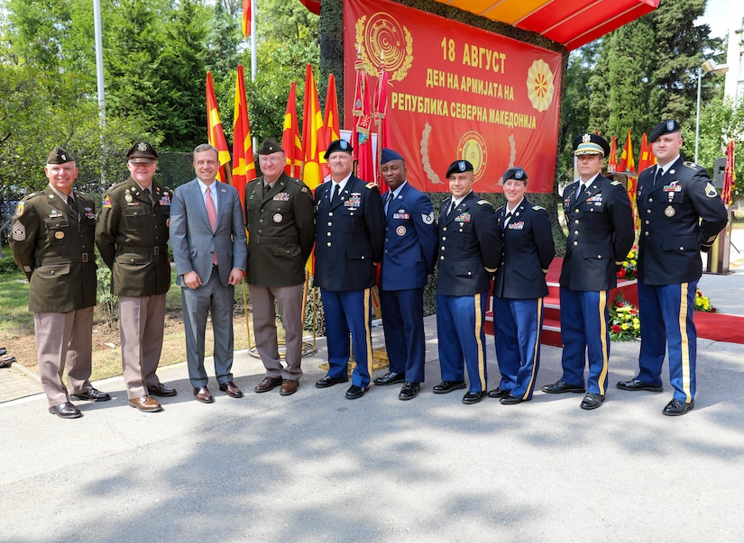 Members of the Vermont National Guard attend a celebration for Army Day at the Ministry of Defense in Skopje, North Macedonia, Aug. 18, 2021. The holiday commemorates the creation of the Mirče Acev battalion in 1943. The battalion laid the foundation of the People's Liberation Army of Macedonia that fought against the Axis forces during WWII.