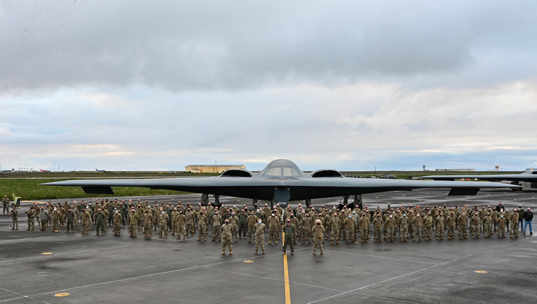 Airmen assigned to the 110th Expeditionary Bomb Squadron deploy three B-2 Spirit stealth bombers to Keflavik Air Base, Iceland, Sept. 7, 2021. Stealth bombers routinely operate across the globe to remain flexible and agile to respond to the changes in the operational environment. (U.S. Air Force photo by Airman 1st Class Victoria Hommel)