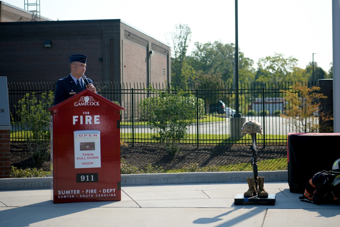 U.S. Air Force Col. Lawrence Sullivan, 20th Fighter Wing commander, speaks during a 9/11 memorial ceremony in Sumter, S.C., Sept. 11, 2021. The ceremony was held in remembrance of the 20th anniversary of the Sept. 11, 2001, attacks across the United States. (U.S. Air Force photo by Staff Sgt. K. Tucker Owen)