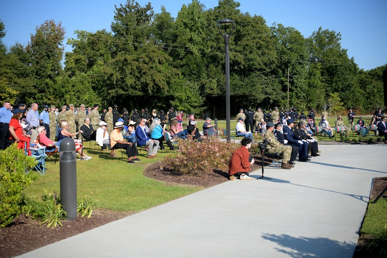 Members of the Shaw Air Force Base and Sumter communities attend a 9/11 memorial ceremony in Sumter, S.C., Sept. 11, 2021. The ceremony was held in remembrance of the 20th anniversary of the Sept. 11, 2001, attacks across the United States. (U.S. Air Force photo by Staff Sgt. K. Tucker Owen)