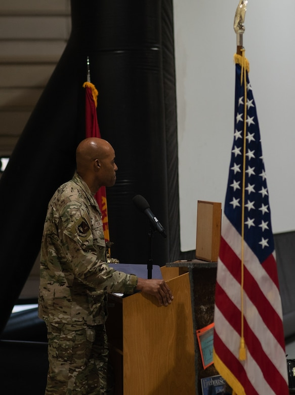 Col. Terence Taylor, 27th Special Operations Wing commander, shares his memories of the terrorist attacks on 9/11 during a memorial ceremony at Cannon Air Force Base, N.M., Sep. 11, 2021. The memorial ceremony marks the 20th anniversary of the terrorist attacks on the United States and serves as a reminder of AFSOC's everchanging future with the end on the global war on terrorism, and a new focus on great power competition. (U.S. Air Force photo by Senior Airman Christopher Storer)
