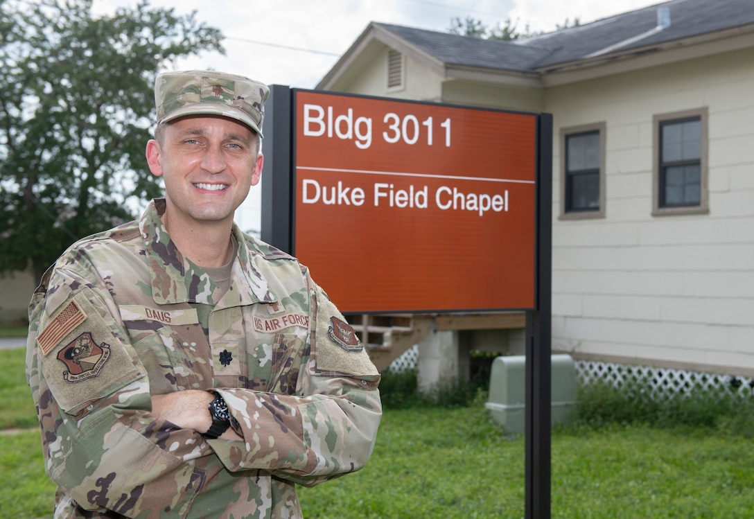 Chaplain (Lt. Col.) David Daus, 919th Special Operations Wing newest chaplain to the Wing takes a moment for a photo outside the Duke Field Chapel at Duke Field, Fla. Sept. 11, 2021. This is the first time for Daus to serve at a reserve base in Traditional Reserve status. (U.S. Air Force photo by Michelle Gigante)