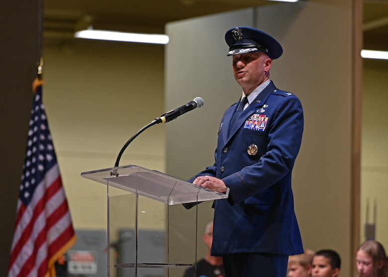 U.S. Air Force Col. Matthew Reilman, 17th Training Wing commander, speaks during the 9/11 Remembrance Ceremony at the Bill Aylor Sr. Memorial RiverStage in San Angelo, Texas on Sept. 11, 2021.  During his speech, he commemorated the fallen,  the tragic outcome of 9/11 and highlighted how important the first responders and military members are to the community and this country. (U.S. Air Force photo by Senior Airman Ashley Thrash)