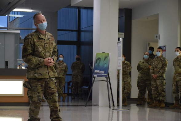 Col. Michael C. Brice addresses Reserve Citizen Airmen at Wilford Hall Ambulatory Surgical Center for the last time as 433rd Medical Group commander at Joint Base San Antonio-Lackland, Texas, Sept. 12, 2021. Col. Brice has served as 433rd MDG commander since July 2019, following commander positions at the 310th Aeromedical Dental Squadron, Buckley Air Force Base, Colo., and the 934th Aeromedical Staging Squadron, Minneapolis-St. Paul Air Reserve Station, Minn. He was previously assigned to the 433rd Airlift Wing from 1994 to 2014. (U.S. Air Force photo by Tech. Sgt. Mike Lahrman)