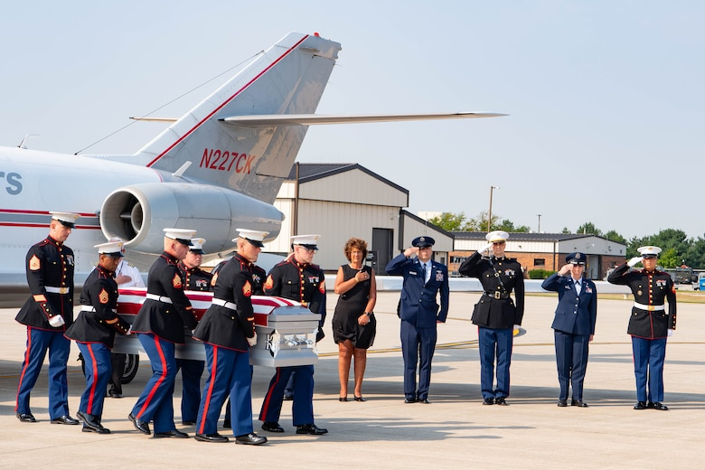 Marines from Detachment 1, Communications Company, Combat Logistics Regiment 45, 4th Marine Logistics Group, carry the casket of U.S. Marine Corps Cpl. Humberto A. Sanchez of Logansport, Indiana, Sept. 12, 2021 at Grissom Air Reserve Base, Indiana. Sanchez was assigned to 2nd Battalion, 1st Marine Regiment, 1st Marine Division, I Marine Expeditionary Force, Camp Pendleton, California. (U.S. Air Force photo by Master Sgt. Benjamin Mota)