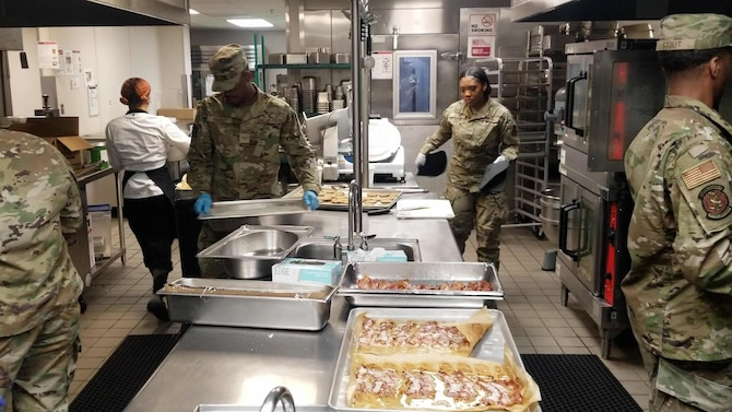 Reserve Citizen Airmen with the 514th Force Support Squadron, 514th Air Mobility Wing prepare breakfast at the Air Force Base McGuire dining facility on July 19, 2021.