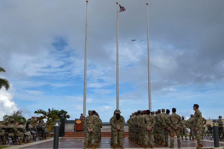 A formation of Airmen during a ceremony.