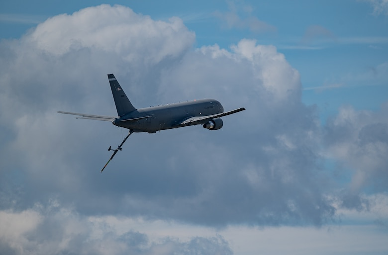 A KC-46A Pegasus, assigned to the 157th Air Refueling Wing, performs a low boom pass in front of thousands of spectators during the Thunder Over New Hampshire air show, Sept. 11. The two-day air show was the first at Pease in more than a decade and brought an estimated 80,000 visitors to the base. (U.S. Air National Guard photo by Staff Sgt. Tim Hayden)