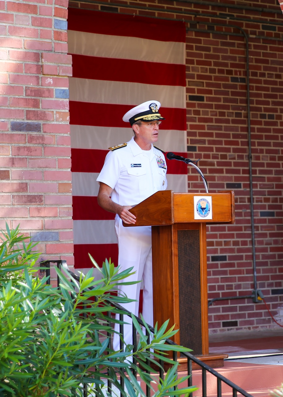 Rear Adm. Pete Garvin, commander, Naval Education and Training Command (NETC), speaks during a 9/11 memorial ceremony.