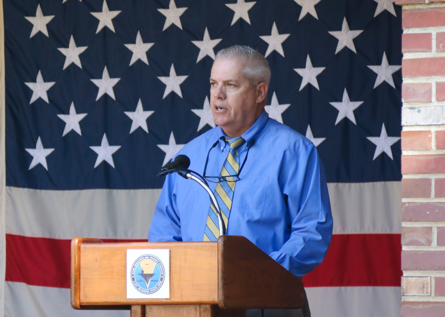 Wayne Killingsworth, cyber security program manager at Naval Education and Training Command (NETC), speaks during a 9/11 memorial ceremony.