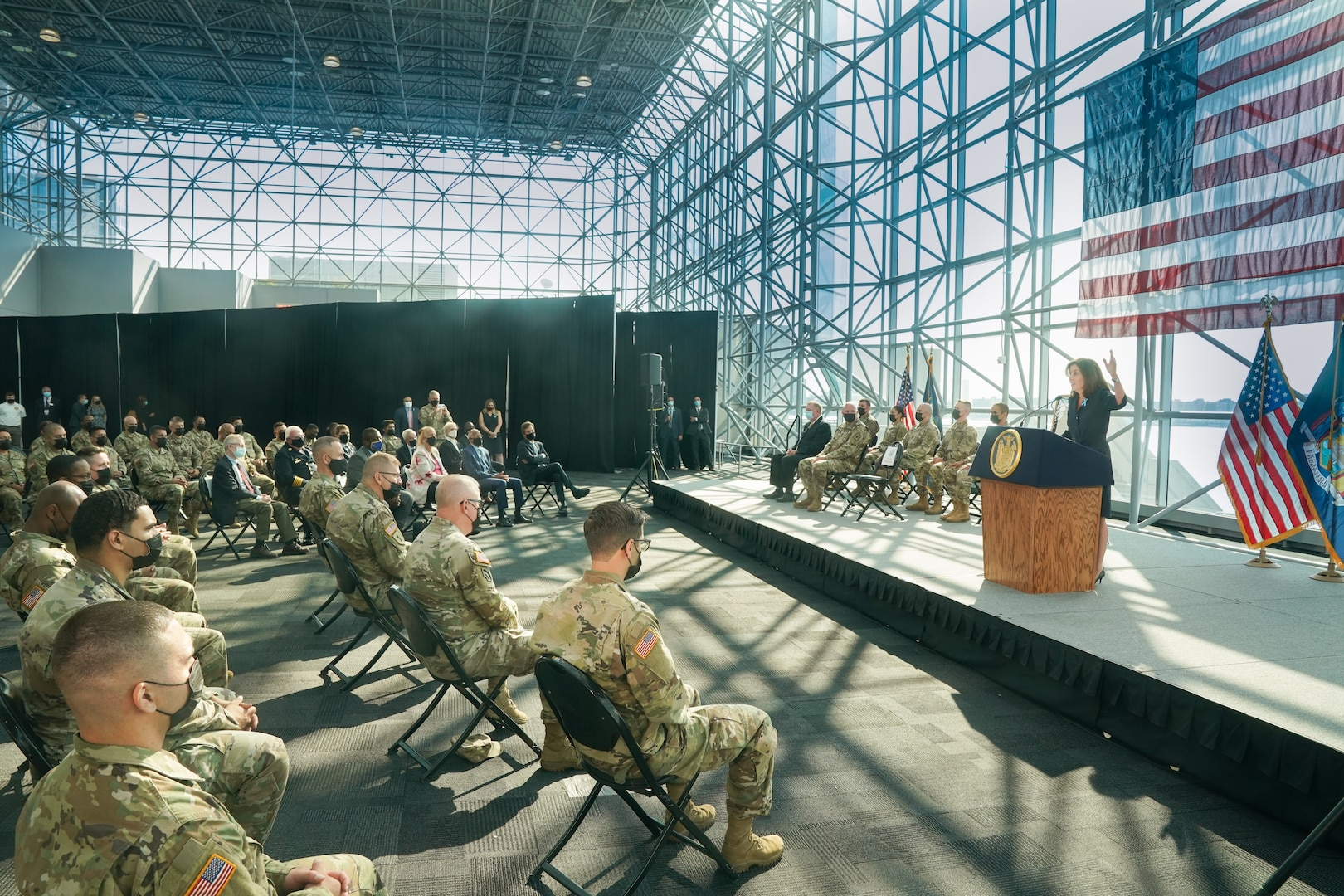 Gov.KathyHochulrecognizes the New York National Guard for its service responding to the 9/11 terror attacks on the 20th anniversary of Sept. 11, 2001 in remarks at the Jacob Javits Center in New York City.