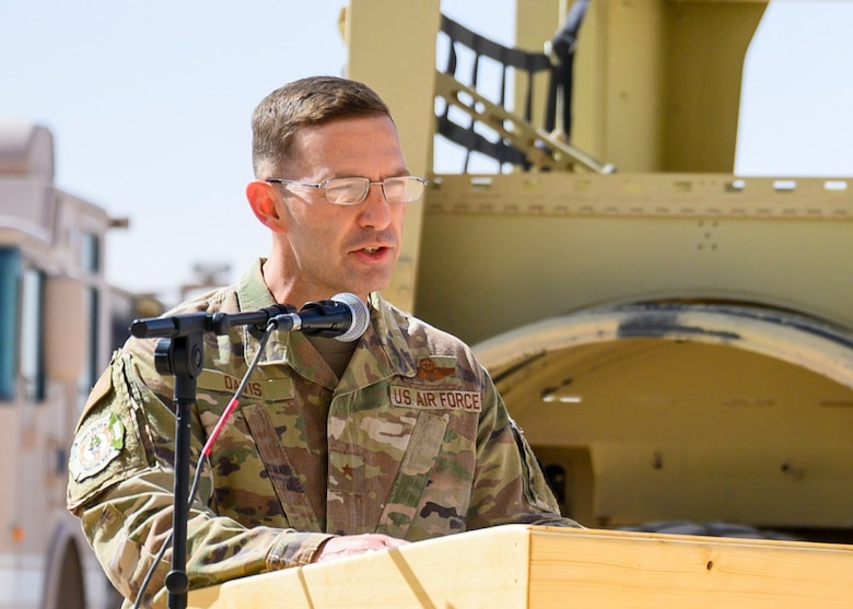 U.S. Air Force Brig. Gen. Robert Davis, 378th Air Expeditionary Wing commander, delivers a speech during a Remembrance Ceremony Sept. 11, 2021, at Prince Sultan Air Base, Kingdom of Saudi Arabia.