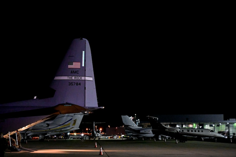 A C-130J is parked at Dulles International Airport
