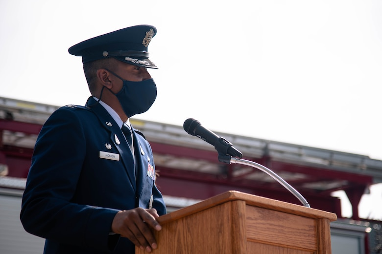 Col. Marcus Jackson, Buckley Garrison commander, speaks about the 20th anniversary of the 9/11 attacks, at Buckley Space Force Base, Colo., Sept. 10, 2021.