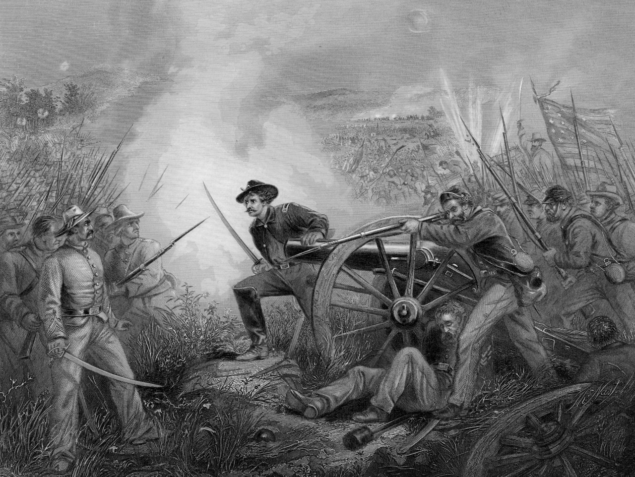 A drawing depicts enemy soldiers with swords and bayonets in a field.
